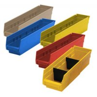 "Durable Plastic Shelf Bins 17-7/8""L x 6-5/8""W x 4""H"