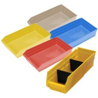 "Durable Plastic Shelf Bins 11-5/8""L x 8-3/8""W x 4""H"