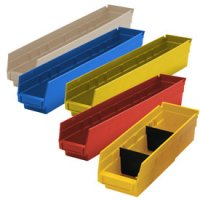 "Durable Plastic Shelf Bins 17-7/8""L x 8-3/8""W x 4""H"