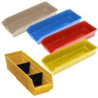 "Durable Plastic Shelf Bins 17-7/8""L x 11-1/8""W x 4""H"