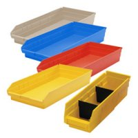 "Durable Plastic Shelf Bins 23-5/8""L x 8-3/8""W x 4""H"