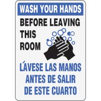 Bilingual Eco-Friendly Signs - Wash Your Hands Before Leaving This Room