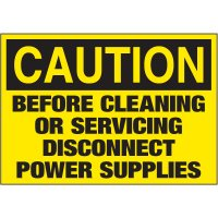Electrical Warning Labels - Caution Before Cleaning Or Servicing