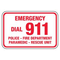 Emergency Dial 911 - Pool Signs