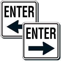 Reflective Parking Lot Signs - Enter (Left Arrow)