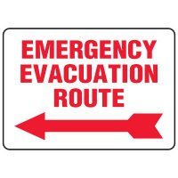 Evacuation & Shelter Signs - Emergency Evacuation Route (with left arrow)