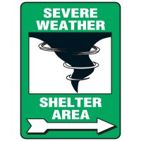 Evacuation & Shelter Signs - Severe Weather Shelter Area (with right arrow)