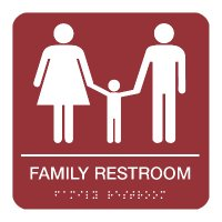 Family Restroom - Braille Restroom Signs