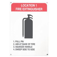 Fire Extinguisher P.A.S.S. Procedure Signs