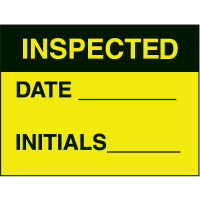 Inspected Date Initials Fluorescent Paper Labels