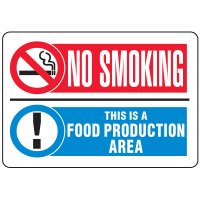 Food Industry Safety Signs - No Smoking This Is A Food Production Area