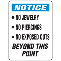 Food Industry Safety Signs - Notice No Jewelry No Piercings No Exposed Cuts