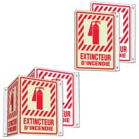 French 2 & 3-Way Fire Extinguisher Signs - Extincteur D'Incendie