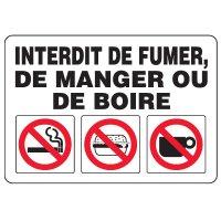 Enseignes de Sécurité - Interdit De Fumer De Manger Ou De Boire