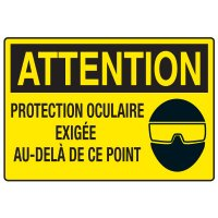 Enseignes de Sécurité - Attention Protection Ocluire Exigee