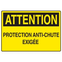Enseignes de Sécurité - Attention Protection Anti-Chute Exigée