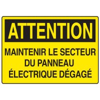 Enseignes de Sécurité - Attention Maintenir Le Secteur Du Panneau Électrique Dégagé