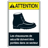 Enseignes de Sécurité - Attention Les Chaussures De Sécurité Doivent Être Portées Dans Ce Secteur