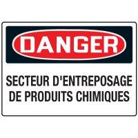 Enseignes de Sécurité - Danger Secteur D'entreposage De Produits Chimiques