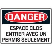 Enseignes de Sécurité - Danger Espace Clos Entrer Avec Un Permis Seulement