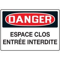 Enseignes de Sécurité - Danger Espace Clos Entrée Interdite