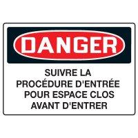 Enseignes de Sécurité - Danger Suivre La Procédure D'Entrée