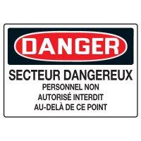 Enseignes de Sécurité - Danger Secteur Dangereux