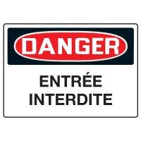 Enseignes de Sécurité - Danger Entree Interdite