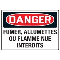 Enseignes de Sécurité - Danger Fumer, Allumettes Ou Flamme Nue Interdits