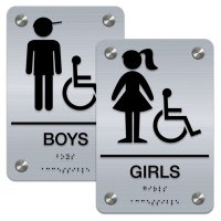Girl/Boy (Accessibility) - Premium ADA Braille Restroom Sign Sets