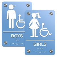 Boys/Girls Bathroom Sign Sets - Braille/Accessibility