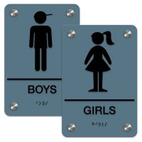 Girl/Boy - Premium ADA Braille Restroom Sign Sets