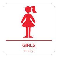 Girls - Braille Restroom Signs