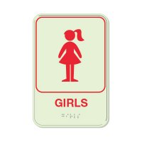 Girls - Glo Brite Braille Signs