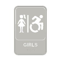 Girls W/ Dynamic Accessibility - Graphic ADA Braille Tactile Signs