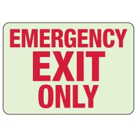 Luminous Exit and Path Marker Signs - Emergency Exit Only