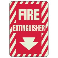 Glow In The Dark Fire Extinguisher Sign - Down Arrow