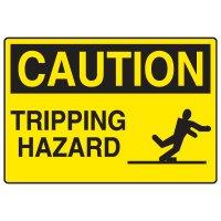 Fall Hazard Signs - Caution Tripping Hazard