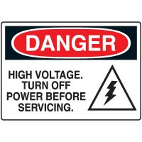 Electrical Hazard Signs - Danger High Voltage Turn off Power Before Servicing