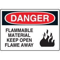 Danger - Flammable Material Keep Open Flame Away Sign | Seton Canada