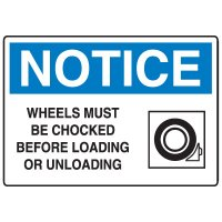 Traffic & Parking Signs - Notice Wheels Must Be Chocked