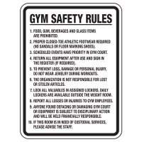 Gym Safety Rules - Athletic Facilities Signs