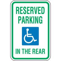 Handicap Parking Signs - Reserved Parking In The Rear