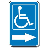 Handicap Signs - Symbol of Access & Right Arrow