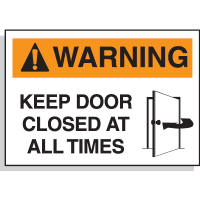 Hazard Warning Labels - Warning Keep Door Closed At All Times