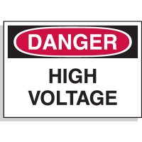 Hazard Warning Labels - Danger High Voltage