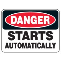 Heavy Duty Conveyor Signs - Danger Starts Automatically