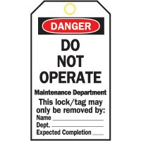 Heavy Duty Lockout Tags - Do Not Operate Maintenace