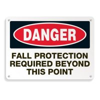 Heavy Duty Protective Wear Mining Signs - Danger Fall Protection Required Beyond This Point