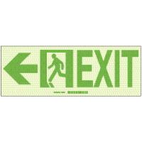 Exit with Left Arrow - Hi-Intensity Photoluminescent Signs (10Pk)